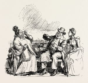 REFRESHMENTS ON BOARD, engraving 1890