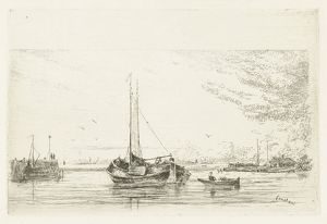 River view with boat and rowboat, Jan Daniel Cornelis Carel Willem baron de Constant