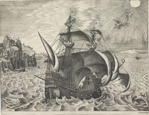 Sailing ship with the Fall of Icarus, Frans Huys, unknown, 1561-1565