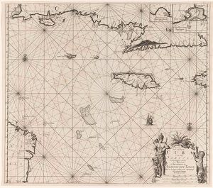Sea chart of the south coast of Cuba and Jamaica, Jan Luyken, Claes Jansz Voogt