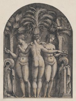 "Speculum Romanae Magnificentiae: The Three Graces, ca. 1500a€""1534, Engraving, mount"