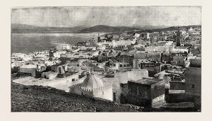 Tangier from the Kesba, Tangier, Morocco, a Moroccan port on the Strait of Gibraltar