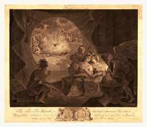 The tea-tax-tempest, or the Anglo-American revolution, en sanguine engraving shows