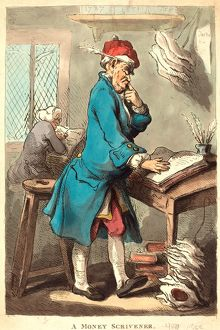 Thomas Rowlandson (British, 1756 1827 ), A Money Scrivener, 1801, hand colored etching