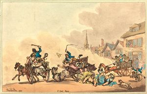 Thomas Rowlandson (British, 1756 1827 ), A Cart Race, 1788, hand colored etching