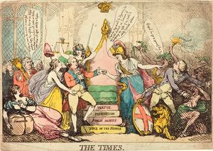 Thomas Rowlandson (British, 1756 - 1827 ), The Times, probably 1783, hand-colored etching