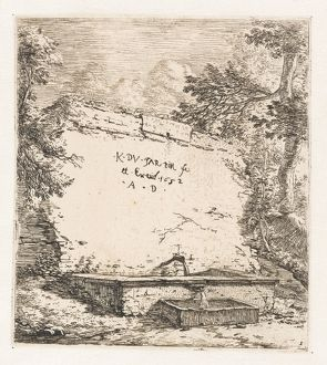 Title print with wall fountain, Karel Dujardin, 1652