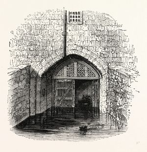 Traitor's Gate, Tower, London, England, engraving 19th century, Britain, UK