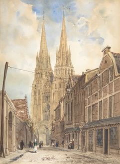 view of bayeux 1832 brush and watercolor over graphite