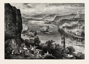 VIEW FROM THE DRACHENFELS, DRAGON'S ROCK, SIEBENGEBIRGE, GERMANY, 19th century