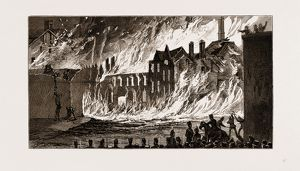 VIEW OF THE FIRE FROM NEWMARKET, LONDON, UK, 1875