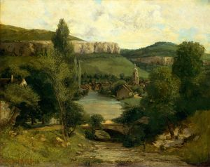 View of Ornans, probably mid-1850s, Oil on canvas, 28 3/4 x 36 1/4 in. (73 x 92.1 cm)