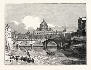 View of St. Peter's from the East, above the Bridge of St. Angelo, Rome