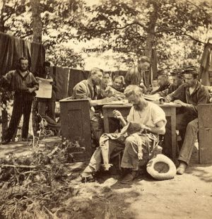 War views. No. 1501, Camp life, Army of the Potomac, writing to friends at home, US