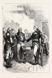 WASHINGTON TAKING LEAVE OF HIS OLD COMRADES, US, USA, 1870s engraving