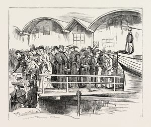 ON THE WAY TO PARAY-LE-MONIAL, FRANCE: EMBARKATION AT NEWHAVEN, 1873 engraving